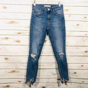Zara Women's Ripped Frayed Skinny Ankle Jeans